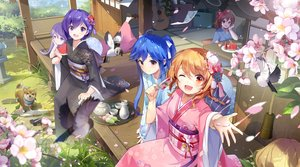 Rating: Safe Score: 74 Tags: animal bird blue_hair braids brown_hair cherry_blossoms dog drink flowers food fruit grass group guitar instrument japanese_clothes kimono long_hair orange_eyes orange_hair original paper ponytail popsicle purple_eyes purple_hair short_hair tracyton twintails watermelon wink User: BattlequeenYume