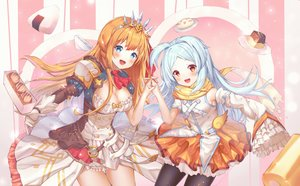 Rating: Safe Score: 22 Tags: 2girls aqua_hair blue_eyes blush braids breasts cleavage dress food gloves izumo_miyako loli long_hair merryj orange_hair pantyhose pecorine princess_connect! red_eyes skirt tiara User: Dreista