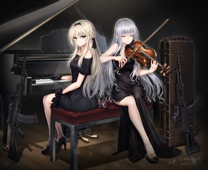 Rating: Safe Score: 89 Tags: 2girls ak12_(girls_frontline) an94_(girls_frontline) anthropomorphism baek_hyang blonde_hair braids dress girls_frontline gray_hair green_eyes gun headband instrument long_hair necklace piano signed violin weapon User: BattlequeenYume