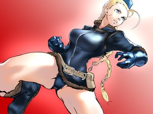 Rating: Safe Score: 20 Tags: blonde_hair blue_eyes boots braids cammy_white gloves gradient hat kick kyuuakaku leotard long_hair red sketch street_fighter street_fighter_v twintails waifu2x User: otaku_emmy
