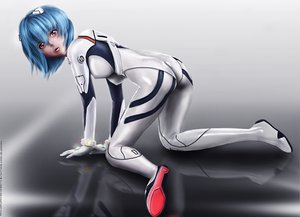 Rating: Safe Score: 36 Tags: ayanami_rei blue_hair bodysuit eddy_shinjuku erect_nipples gloves neon_genesis_evangelion realistic red_eyes short_hair watermark User: Saya-Nami