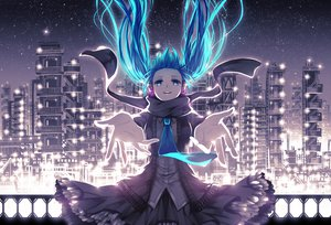 Rating: Safe Score: 139 Tags: blue_eyes blue_hair dress hatsune_miku headphones mirusa night tie twintails vocaloid User: opai