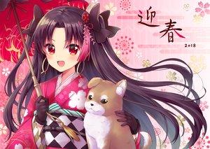 Rating: Safe Score: 29 Tags: animal black_hair blush dog fate/grand_order fate_(series) gloves ishtar_(fate/grand_order) japanese_clothes kimono long_hair mamekosora red_eyes umbrella User: RyuZU