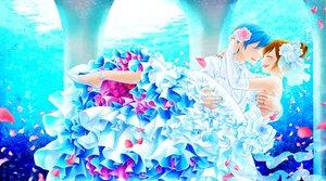 Rating: Safe Score: 56 Tags: blue_hair brown_hair dress flowers gloves jpeg_artifacts kaito male meiko petals short_hair vocaloid water wedding wedding_attire User: rollroll