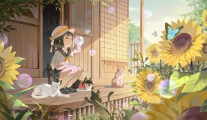 Rating: Safe Score: 7 Tags: animal black_hair butterfly cat flowers food hat original school_uniform short_hair sunflower yellow_eyes User: Maboroshi