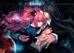Rating: Safe Score: 100 Tags: black_hair catwyz dangan-ronpa dangan-ronpa_2 enoshima_junko kamukura_izuru long_hair pink_hair tie User: FormX