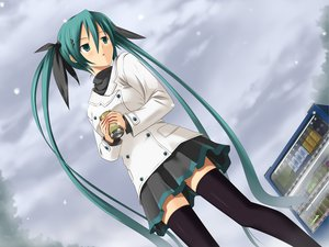 Rating: Safe Score: 89 Tags: aqua_eyes aqua_hair hatsune_miku koikeya ribbons skirt snow thighhighs twintails vocaloid zettai_ryouiki User: anaraquelk2