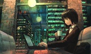 Rating: Safe Score: 53 Tags: black_hair brown_eyes building city computer drink night original short_hair tokunaga_akimasa User: RyuZU