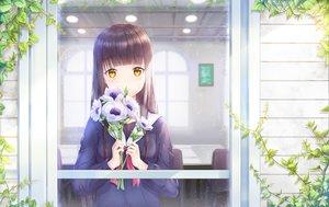 Rating: Safe Score: 66 Tags: brown_hair flowers long_hair lunacle original seifuku yellow_eyes User: RyuZU