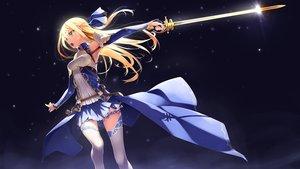 Rating: Safe Score: 426 Tags: blonde_hair green_eyes long_hair murakami_suigun original sword thighhighs weapon User: Flandre93