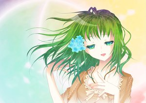 Rating: Safe Score: 30 Tags: flowers green_eyes green_hair gumi vocaloid User: HawthorneKitty