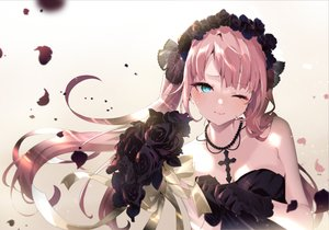 Rating: Safe Score: 89 Tags: aqua_eyes aruterra blush close cross flowers gloves gothic long_hair necklace original pink_hair rose twintails wedding_attire wink User: BattlequeenYume