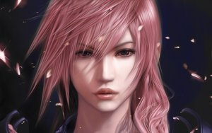 Rating: Safe Score: 148 Tags: close final_fantasy final_fantasy_xiii lightning_farron long_hair petals pink_hair realistic User: opai