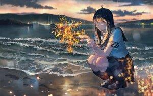 Rating: Safe Score: 15 Tags: beach fireworks kneehighs long_hair original sakura_inu_(itoyatomo) scenic school_uniform water User: FormX