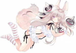 Rating: Safe Score: 66 Tags: animal_ears blonde_hair foxgirl long_hair original purple_eyes socks tagme_(artist) tail white wink User: luckyluna
