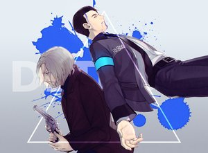 Rating: Safe Score: 8 Tags: all_male black_hair blood byakuya0315 connor_(detroit:_become_human) detroit:_become_human gradient gray_hair gun hank_anderson male robot short_hair suit tie weapon User: otaku_emmy