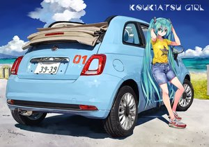 Rating: Safe Score: 88 Tags: aqua_eyes aqua_hair beach car hatsune_miku shorts signed takepon1123 twintails vocaloid water User: RyuZU