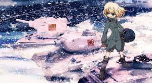 Rating: Safe Score: 68 Tags: blonde_hair blue_eyes combat_vehicle girls_und_panzer katyusha ningen_plamo short_hair snow uniform User: FormX