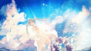 Rating: Safe Score: 59 Tags: dress feathers flowers fujiwara_mizuki hatsune_miku long_hair sky summer_dress twintails vocaloid water User: BattlequeenYume