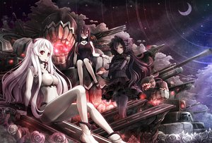 Rating: Safe Score: 224 Tags: airfield_hime akashio_(loli_ace) anthropomorphism battleship_hime black_hair erect_nipples flowers isolated_island_oni kantai_collection long_hair moon night red_eyes rose stars white_hair User: FormX
