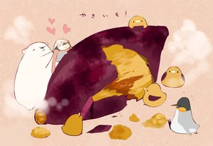 Rating: Safe Score: 16 Tags: animal bear bird chai_(artist) food group hat heart nobody original penguin pink scarf signed translation_request User: otaku_emmy