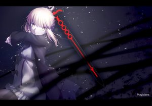 Rating: Safe Score: 134 Tags: blonde_hair fate_(series) fate/stay_night fate/unlimited_codes magicians pantyhose polychromatic saber saber_alter sword watermark weapon yellow_eyes User: FormX