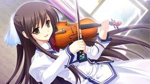 Rating: Safe Score: 85 Tags: brown_eyes brown_hair cabbit game_cg instrument long_hair michiru_(midori_no_umi) midori_no_umi violin yukie User: Katsumi