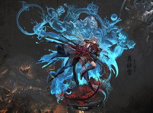 Rating: Safe Score: 39 Tags: armor boots gray_hair katana long_hair necklace original pixiv_fantasia samurai stu_dts sword weapon User: sadodere-chan