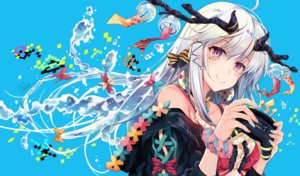 Rating: Safe Score: 89 Tags: bow game_console hirai_yuzuki horns long_hair original purple_eyes signed water white_hair User: BattlequeenYume