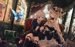 Rating: Safe Score: 145 Tags: blonde_hair blue_eyes bow breasts building butterfly cleavage doll dress garter goth-loli gray_hair hat hoodie ikeuchi_tanuma kneehighs lolita_fashion long_hair male original red_eyes short_hair shorts User: Dreista