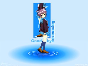 Rating: Safe Score: 80 Tags: blue book bow brown_eyes gradient itou_noiji kneehighs nagato_yuki purple_hair school_uniform short_hair skirt suzumiya_haruhi_no_yuutsu water User: Oyashiro-sama