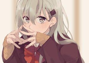 Rating: Safe Score: 70 Tags: anthropomorphism blush bow close gray_eyes green_hair kantai_collection long_hair school_uniform suzuya_(kancolle) tokodanbou User: RyuZU