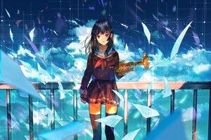 Rating: Safe Score: 42 Tags: aliasing black_hair clouds goroku hibike!_euphonium instrument kousaka_reina paper school_uniform skirt sky zettai_ryouiki User: BattlequeenYume