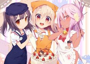 Rating: Questionable Score: 75 Tags: apron bell bow cake chloe_von_einzbern choker dark_skin fate/kaleid_liner_prisma_illya fate_(series) food fruit fujimaru_ritsuka_(female) fujimaru_ritsuka_(male) illyasviel_von_einzbern loli long_hair miyu_edelfelt nopan p_answer strawberry User: RyuZU