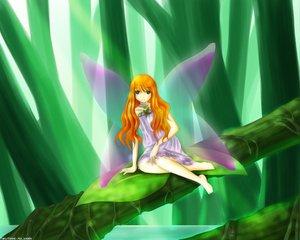 Rating: Safe Score: 24 Tags: barefoot dress fairy green green_eyes jpeg_artifacts leaves orange_hair original water wings User: Oyashiro-sama