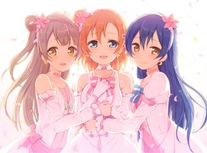 Rating: Safe Score: 90 Tags: 6u_(eternal_land) blue_eyes blue_hair bow brown_hair choker dress elbow_gloves flowers gloves kousaka_honoka long_hair love_live!_school_idol_project minami_kotori orange_hair petals short_hair sonoda_umi tears waifu2x yellow_eyes User: RyuZU