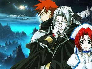 Rating: Safe Score: 3 Tags: abel_nightroad blue_eyes brown_hair esther_blanchett glasses gloves gray_hair nun red_hair tres_iqus trinity_blood User: CALIPSA