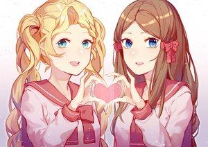 Rating: Safe Score: 13 Tags: 2girls aqua_eyes blonde_hair blue_eyes brown_hair close heart jpeg_artifacts long_hair original seifuku twintails wenz User: RyuZU