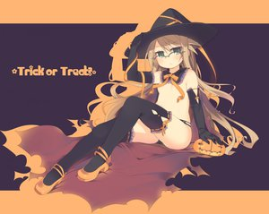 Rating: Questionable Score: 65 Tags: arima_senka bow brown_hair elbow_gloves glasses gloves green_eyes halloween hat kashiwamochi_yomogi long_hair no_bra original thighhighs witch witch_hat User: Tensa
