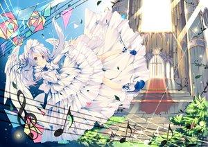 Rating: Safe Score: 86 Tags: aliasing blue_eyes dress headdress lolita_fashion long_hair music original twintails umi_no_mizu wings User: FormX