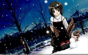 Rating: Safe Score: 24 Tags: kanon misaka_kaori misaka_shiori school_uniform snow snowman thighhighs winter User: 秀悟