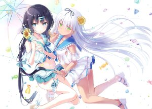 Rating: Safe Score: 60 Tags: 2girls aqua_eyes ass black_hair candy dark_skin gray_eyes kinoko5123 long_hair na-ga navel original panties scan school_uniform twintails umbrella underwear white white_hair User: Nepcoheart