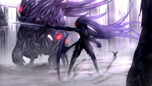 Rating: Safe Score: 54 Tags: armor original purple_hair shiroganeusagi sword weapon User: FoliFF