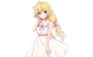 Rating: Safe Score: 71 Tags: blonde_hair blue_eyes blush bow dress long_hair original rimo summer_dress white User: otaku_emmy