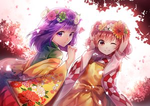 Rating: Safe Score: 91 Tags: 2girls apron brown_hair flowers headdress hieda_no_akyuu japanese_clothes motoori_kosuzu purple_eyes purple_hair red_eyes short_hair touhou uu_uu_zan wink User: Flandre93