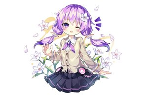 Rating: Safe Score: 32 Tags: blush flowers fujii_shino petals purple_eyes purple_hair school_uniform skirt twintails vocaloid voiceroid white wink wristwear yuzuki_yukari User: otaku_emmy