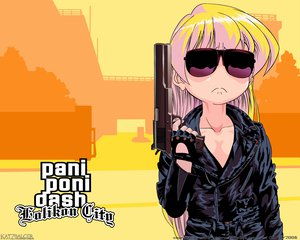 Rating: Safe Score: 23 Tags: grand_theft_auto gun pani_poni_dash parody rebecca_miyamoto sunglasses weapon User: Oyashiro-sama
