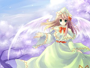 Rating: Safe Score: 17 Tags: blonde_hair cherry_blossoms dress green_eyes hat lily_white long_hair ribbons touhou wings User: Eruku