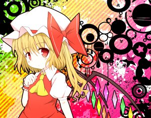 Rating: Safe Score: 15 Tags: blonde_hair flandre_scarlet hat red_eyes ribbons short_hair touhou wings User: HawthorneKitty