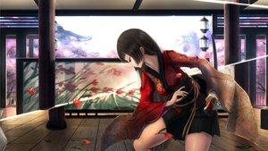 Rating: Safe Score: 152 Tags: black_hair building cherry_blossoms flowers japanese_clothes katana kikivi long_hair original petals red_eyes skirt sword weapon User: Flandre93